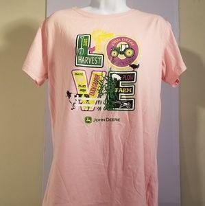 John Deere Women's Sz XL LOVE Picto LetteringTee